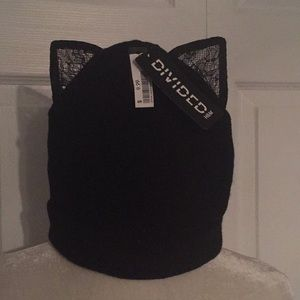 NWT Black Beanie with Lace Cat Ears